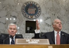 Then-outgoing Foreign Relations Committee chairman Lugar listens as Biden, then incoming chairman, speaks at a hearing on Iraq in 2007.