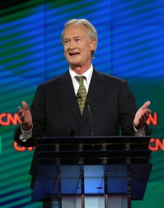 LAS VEGAS, NV - OCTOBER 13:  Democratic presidential candidate Lincoln Chafee takes part in a presidential debate sponsored by CNN and Facebook at Wynn Las Vegas on October 13, 2015 in Las Vegas, Nevada. Five Democratic presidential candidates are participating in the party's first presidential debate.  (Photo by Joe Raedle/Getty Images)