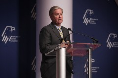 WASHINGTON, DC - DECEMBER 03:  Republican presidential candidate Sen. Lindsey Graham (R-SC) addresses the Republican Jewish Coalition at the Ronald Reagan Building and International Trade Center December 3, 2015 in Washington, DC. Candidates spoke and took questions from Jewish leaders and activists.  (Photo by Alex Wong/Getty Images)