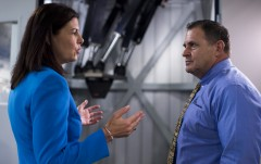 Ayotte speaks with Michael Fortier, president of Mikrolar Inc., during her tour of the robotics company in Hampton. (Bill Clark/CQ Roll Call)