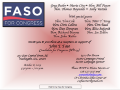 Faso will be hosted in Washington Tuesday by eight members of New York's delegation, according to this invitation obtained by Roll Call.