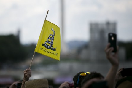 UNITED STATES - A rally attendee waves a flag during a rally organized by Tea Party Patriots on Capitol Hill in Washington, Wednesday, Sept. 9, 2015, to oppose the Iran nuclear agreement. (Photo By Al Drago/CQ Roll Call)