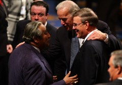 union19/012803 -- Sens. Joe Biden, D-Del., center, and Byron Dorgan, D-N.D., chat woth Rep. Charlie Rangel, D-N.Y., before President George W. Bush's State of the Union Address, Tuesday, Jan. 28, 2003.