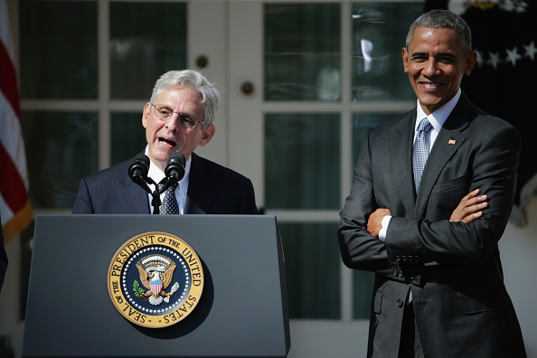 Judge Merrick Garland speaks after being nominated to the U.S. Supreme Court as President Barack Obama looks on in the White House Rose Garden on Wednesday. (Photo by Chip Somodevilla/Getty Images)