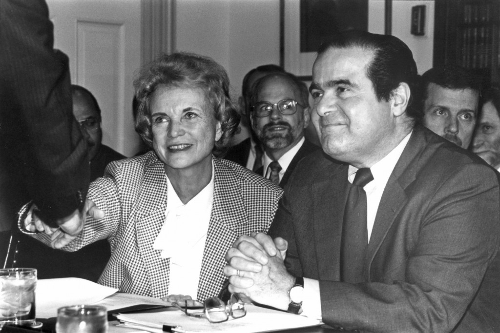 Supreme Court Justice Sandra Day O'Connor greets Sentor Rudman as Justice Scalia looks on.(Roll Call File Photo: 1992)