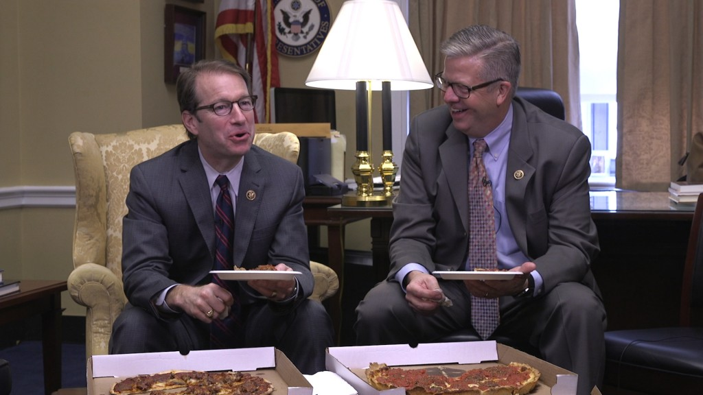 Illinois Republicans Peter Roskam and Randy Hultgren weigh in on the hallmarks of Chicago-style pizza. (JM Rieger/CQ Roll Call)