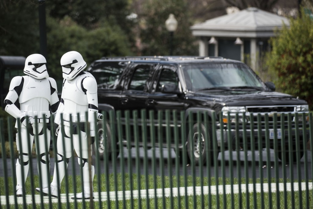 UNITED STATES - MARCH 28 - Stormtroopers wait near black SUV's during the White House Easter Egg Roll, on the South Lawn of the White House, in Washington, Monday, March 28, 2016. The first White House Easter Egg Roll was held in 1878 under President Rutherford B. Hayes. (Photo By Al Drago/CQ Roll Call)