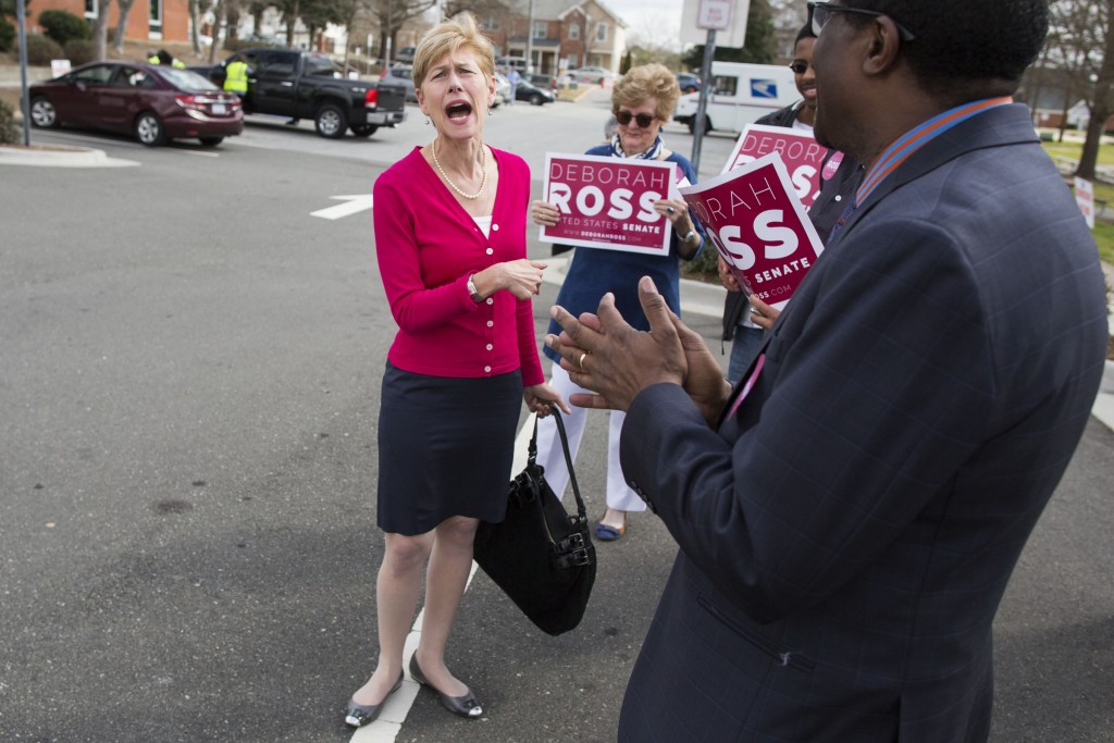 UNITED STATES - March 10 - Debroah Ross, a former Democratic member of the North Carolina General Assembly, greets supporters before casting her vote for herself as she runs for the U.S. Senate race against Sen. Richard Burr, R-N.C., at the Chavis Community Center, in Raleigh, N.C., Thursday, March 10, 2016. (Photo By Al Drago/CQ Roll Call)