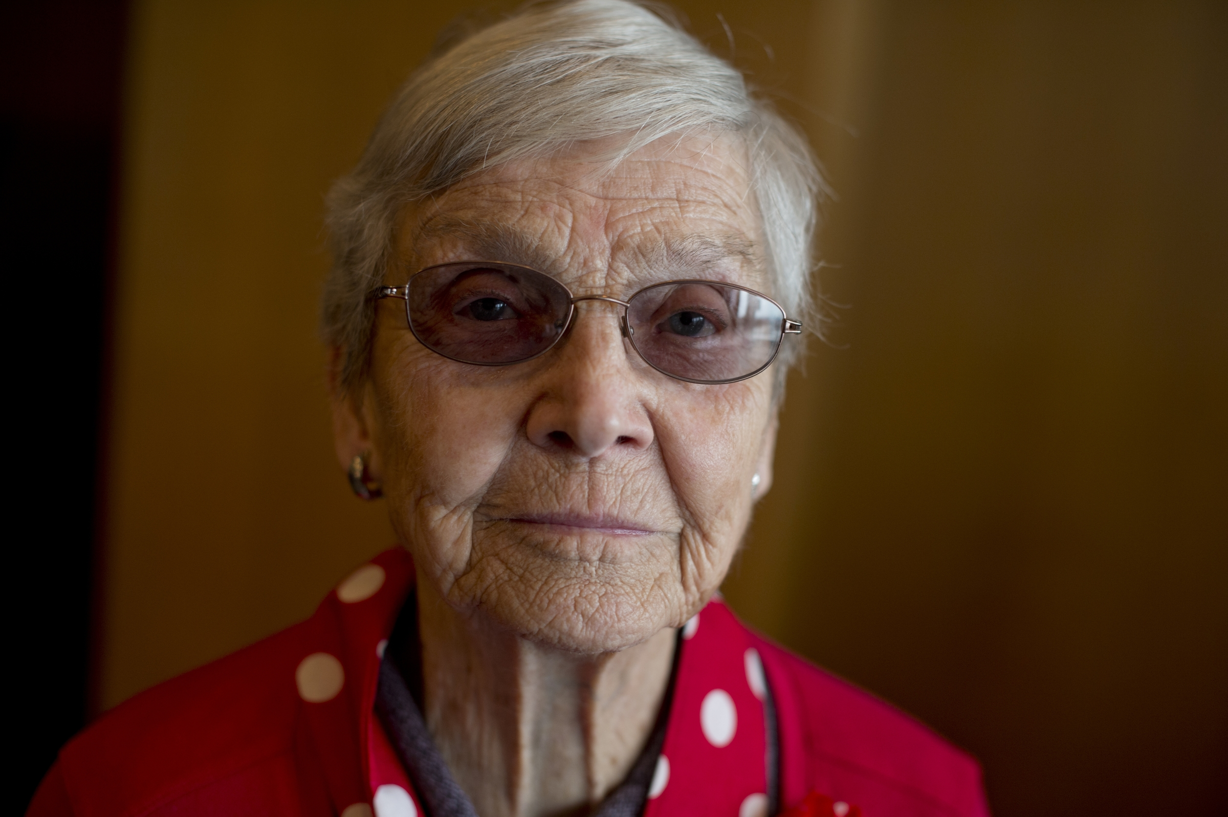 UNITED STATES - MARCH 22: Joyce Nowak, a World War II era Rosie the Riveter, is photographed during a lunch for a group of about 30 Rosies at the Library of Congress, March 22, 2016. They were part of an Honor Flight from Detroit who were on a tour of D.C. that included stops on Capitol Hill, the World War II Memorial, and Arlington National Cemetery. (Photo By Tom Williams/CQ Roll Call)