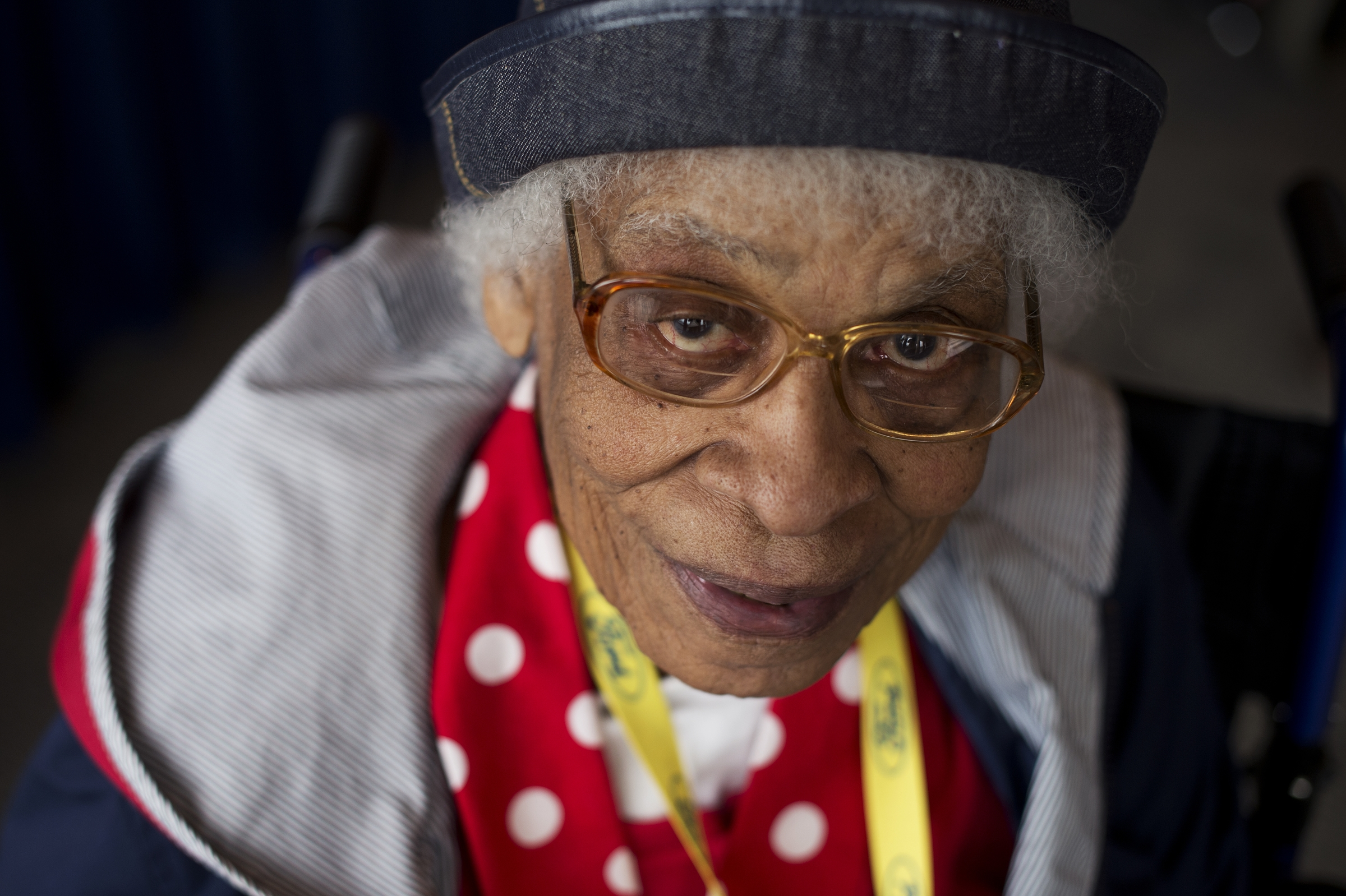 UNITED STATES - MARCH 22: Clara Doutly, a World War II era Rosie the Riveter, is photographed during a lunch for a group of about 30 Rosies at the Library of Congress, March 22, 2016. They were part of an Honor Flight from Detroit who were on a tour of D.C. that included stops on Capitol Hill, the World War II Memorial, and Arlington National Cemetery. (Photo By Tom Williams/CQ Roll Call)