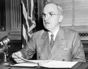 WASHINGTON, : Harry Truman (1884-1972), the 33rd President of the USA, addresses media in 1945 in Washington, D.C. (Photo credit should read AFP/AFP/Getty Images)