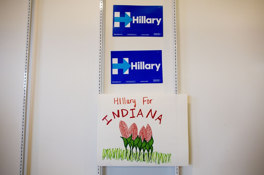 UNITED STATES - APRIL 5 - Campaign signs hang on the wall during a campaign headquarters opening for Democratic presidential candidate Hillary Clinton, in Indianapolis, Ind., on Tuesday, April 5, 2016. (Photo By Al Drago/CQ Roll Call)