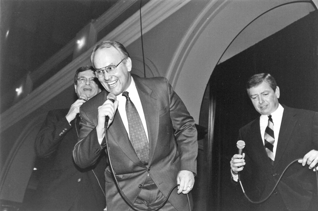 Craig, middle, used to hum along with other Singing Senators like Trent Lott, left, and John Ashcroft, right. (CQ Roll Call File Photo)