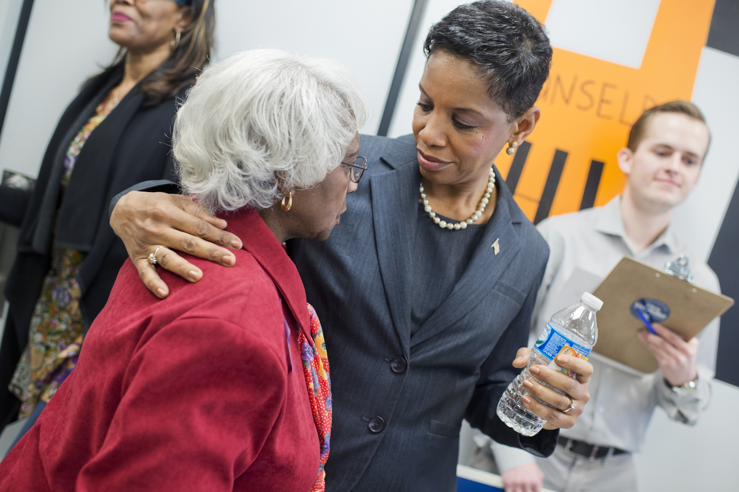 Donna Edwards greets an attendee after a candidate forum in Gwynn Oak, Md., on April 9. (Tom Williams/CQ Roll Call)