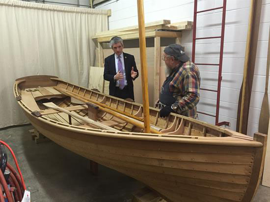 Rigell touring the workship with Joe Filipowski, the creator of Miss Nellie. (Photo courtesy of Rigell)