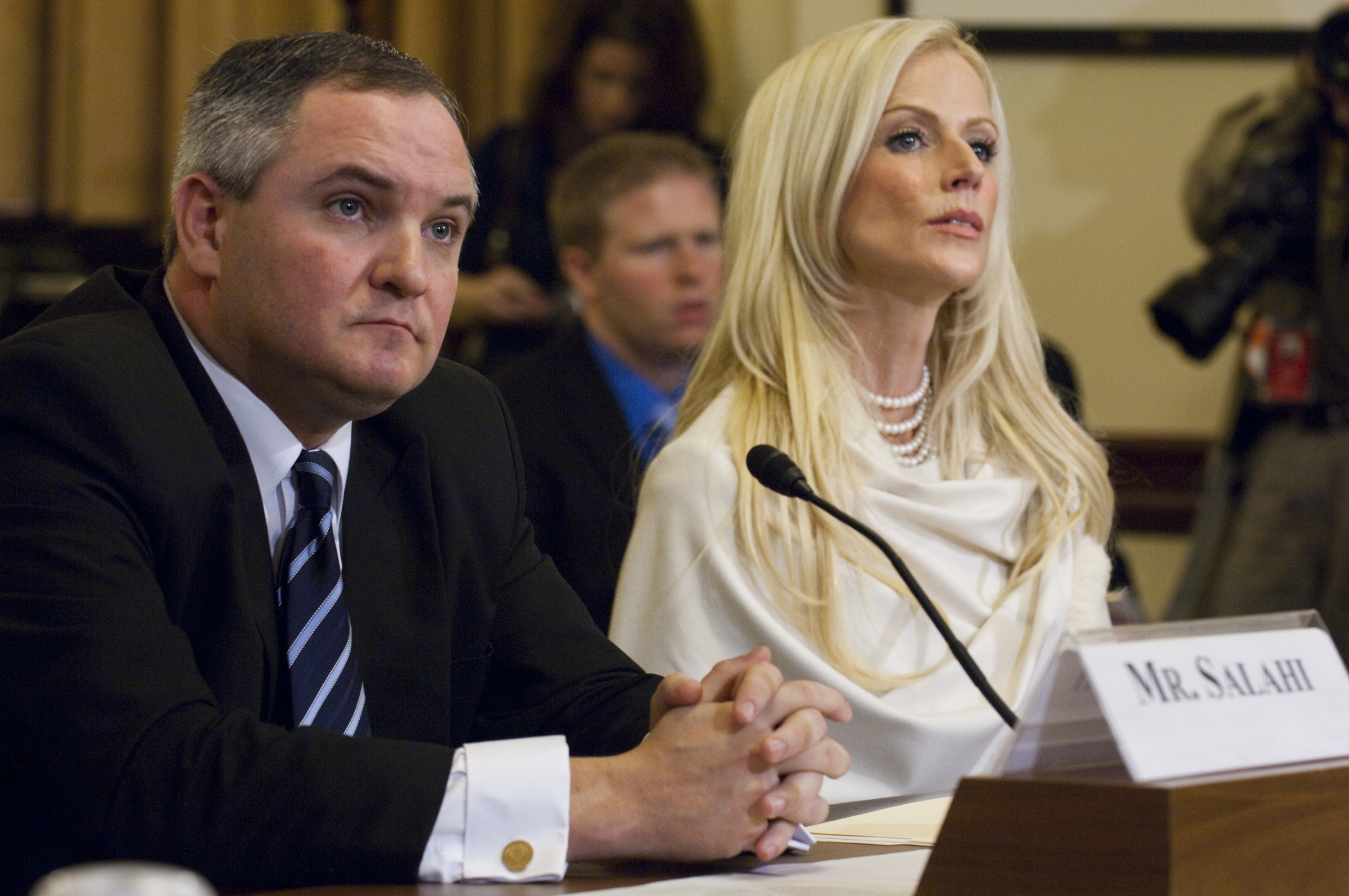 "Tareq and Michaele Salahi, the couple accused of ""crashing"" President Obama's first state dinner in November, invoked their Fifth Amendment right not to testify during a 2010 House Homeland Security Committee hearing on the incident. (Scott J. Ferrell/CQ Roll Call File Photo)"