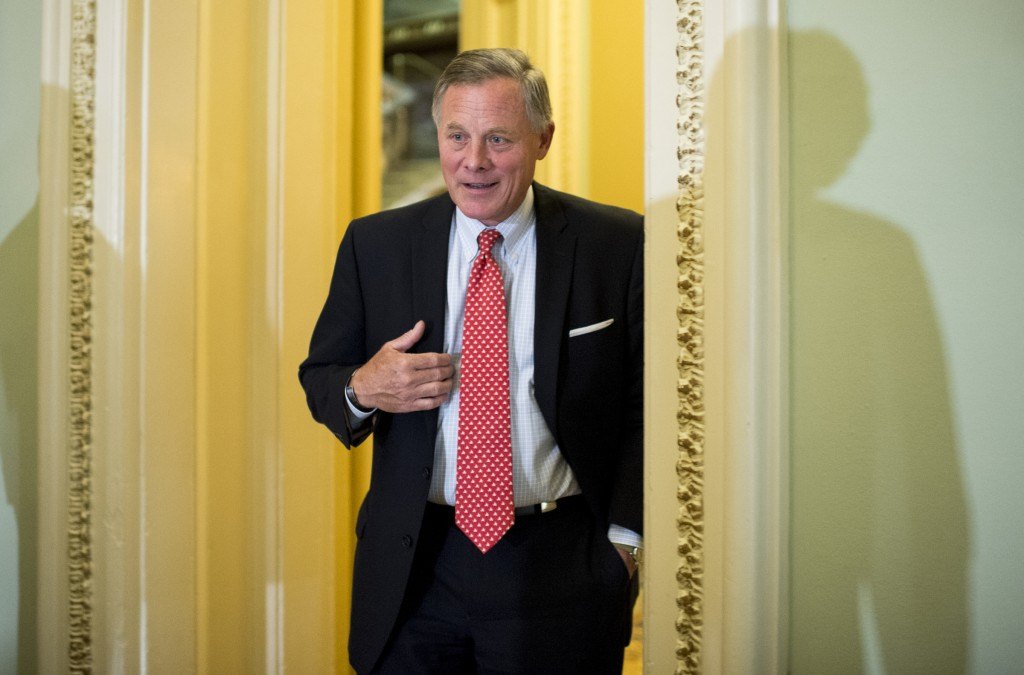 UNITED STATES - SEPTEMBER 9: Sen. Richard Burr (R-NC) arrives for the Senate Republicans' policy lunch in the Capitol on Wednesday, Sept. 9, 2015. (Photo By Bill Clark/CQ Roll Call)