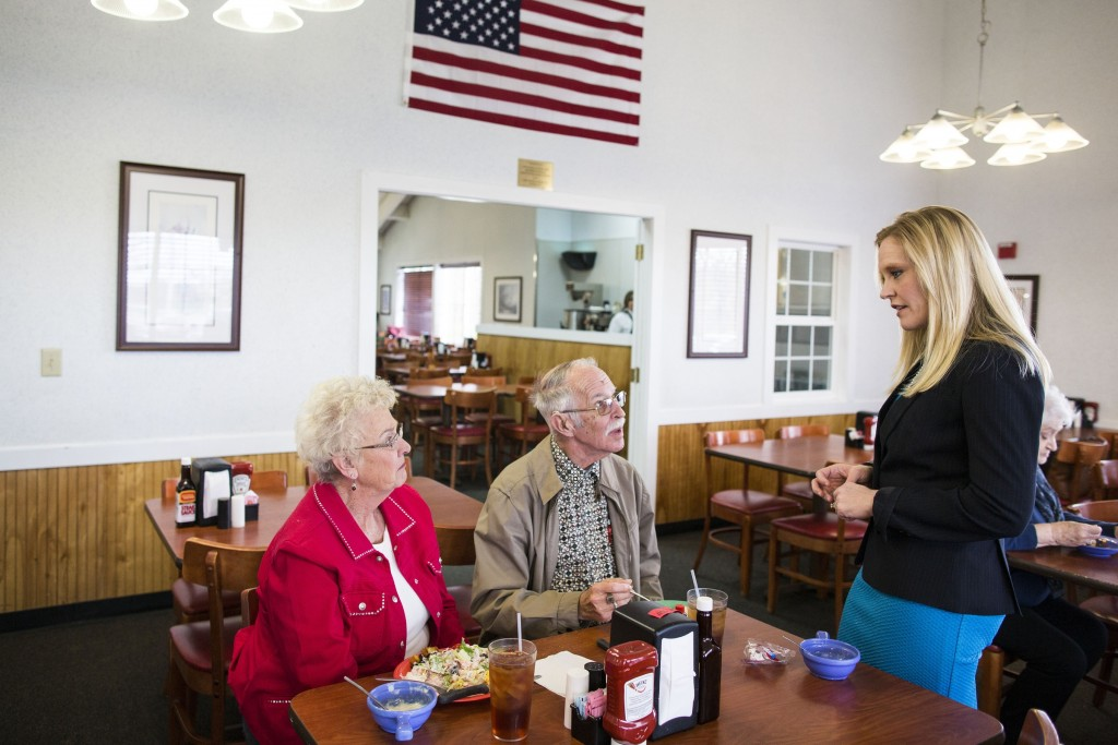 UNITED STATES - APRIL 5 - Indiana State Sen. Erin Houchin, a Republican, speaks with members of the National Active and Retired Federal Employees Association, at a Golden Corral in Greenwood, Ind., Wednesday, April 6, 2016. Houchin is running for Congress in the 9th congressional district. (Photo By Al Drago/CQ Roll Call)
