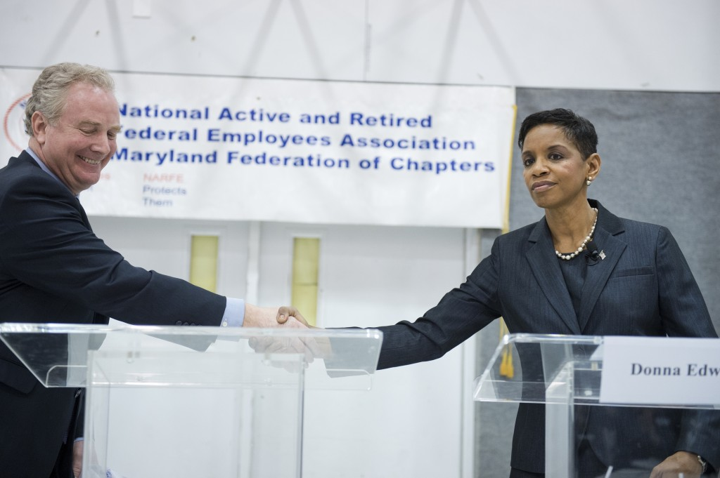 Reps. Chris Van Hollen, D-Md., and Donna Edwards, D-Md., Democratic candidates for Maryland Senate, debate at Woodlawn Senior Center in Gwynn Oak, Md., April 9, 2016. (Photo By Tom Williams/CQ Roll Call)