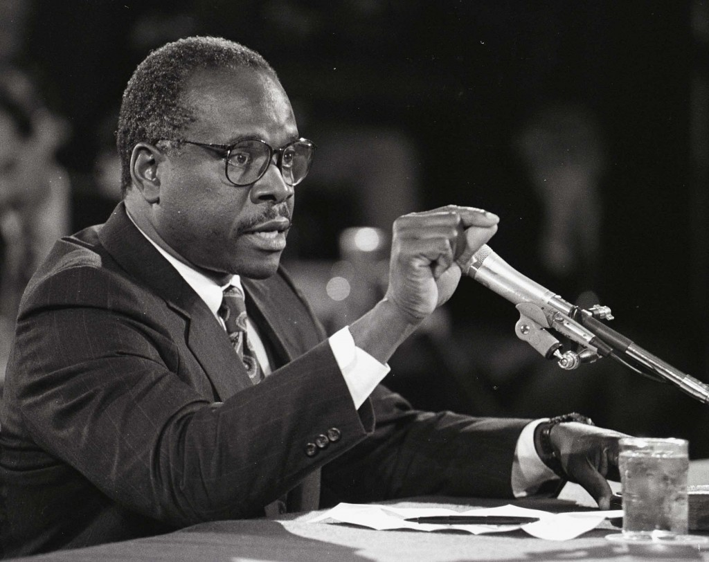 Supreme Court nominee Clarence Thomas tesifies during his 1991 hearing before Senate Judiciary. (PHOTO BY MICHAEL JENKINS)