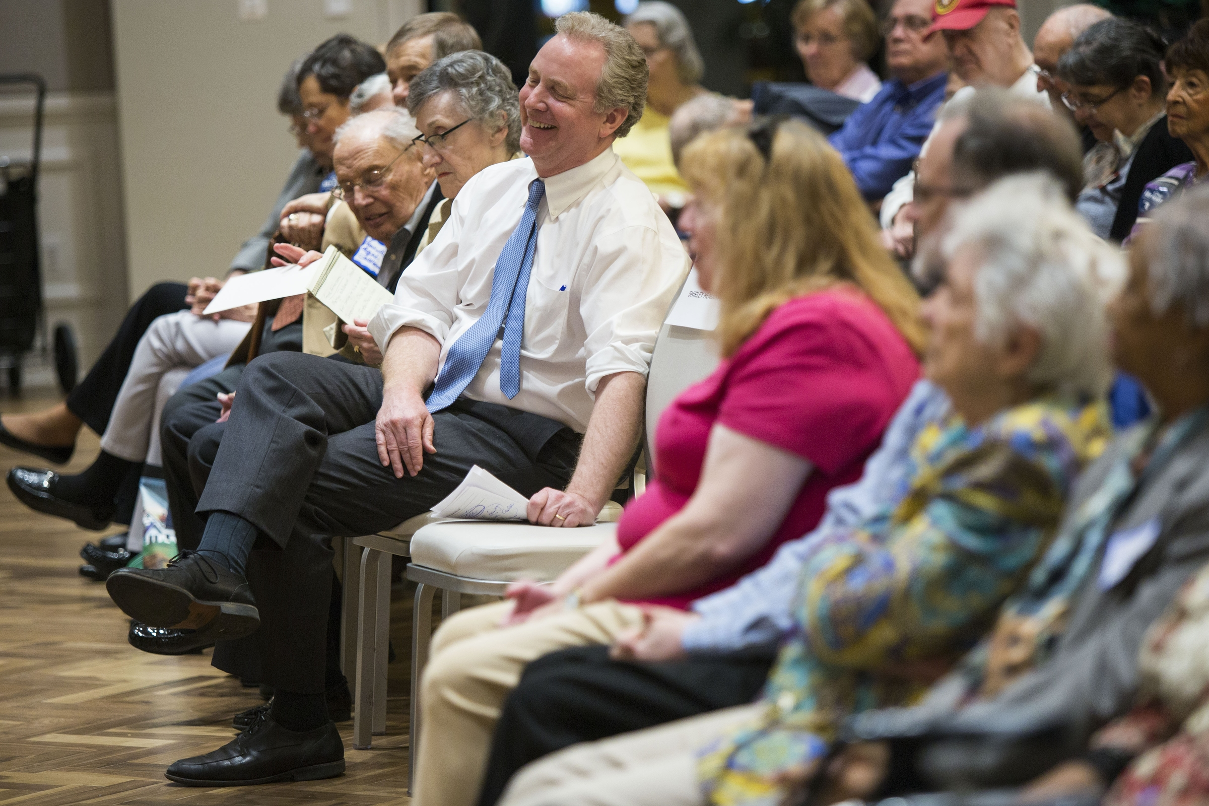 Rep. Chris Van Hollen laughs during a campaign stop in Montgomery County in March. (Al Drago/CQ Roll Call)