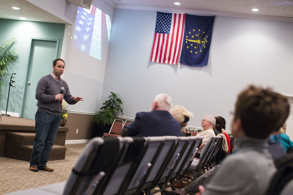 Stutzman speaks at an event at Soul Harvest Church in Cloverdale, Ind., in April. (Al Drago/CQ Roll Call)