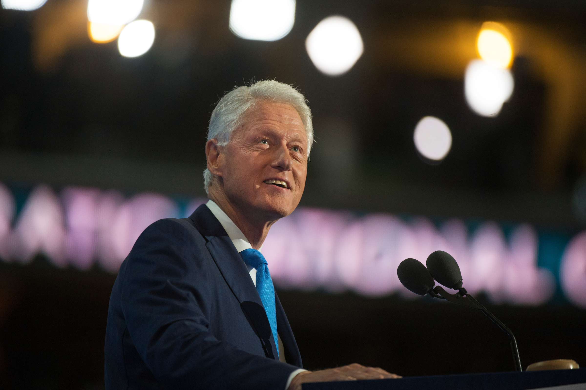 Former President Bill Clinton addresses the crowd in the Wells Fargo Center in Philadelphia, Pa., on the second day of the Democratic National Convention, July 26, 2016. (Photo By Tom Williams/CQ Roll Call)