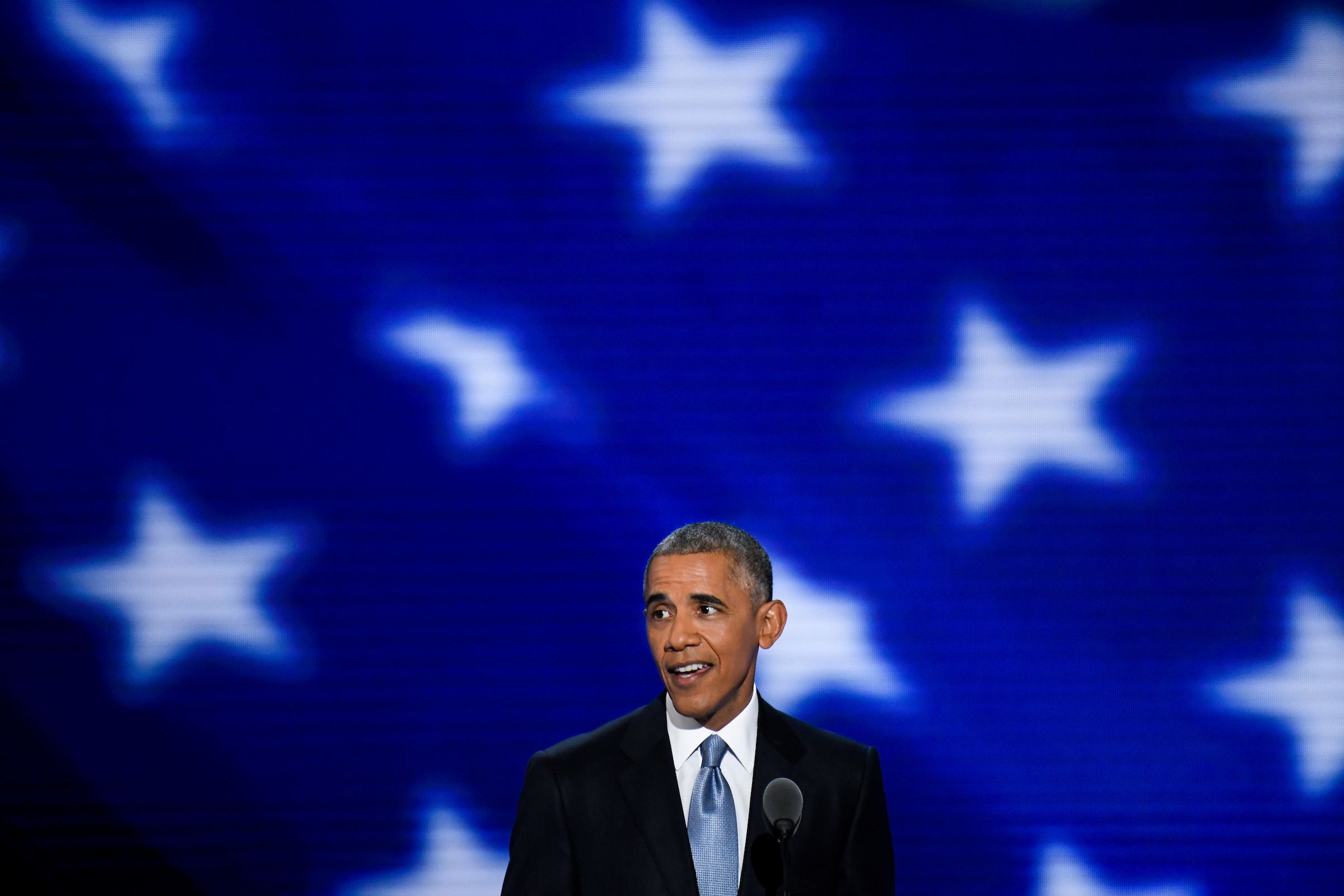 President Barack Obama speaks at the Democratic National Convention in Philadelphia on Wednesday, July 27, 2016. (Photo By Bill Clark/CQ Roll Call)