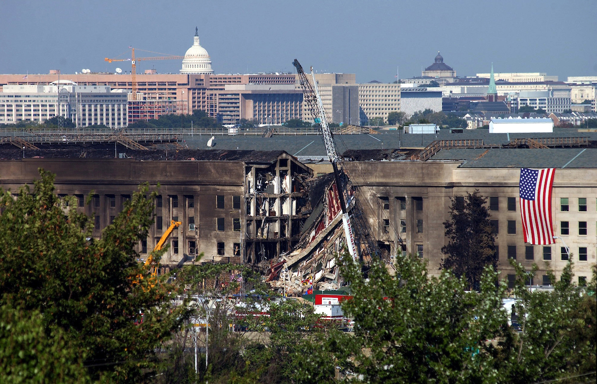 Damage can be seen on Sept. 13, 2001 after terrorists hijacked a United Boeing 757 from Dulles International Airport and crashed it into the Pentagon. (CQ Roll Call archive photo)