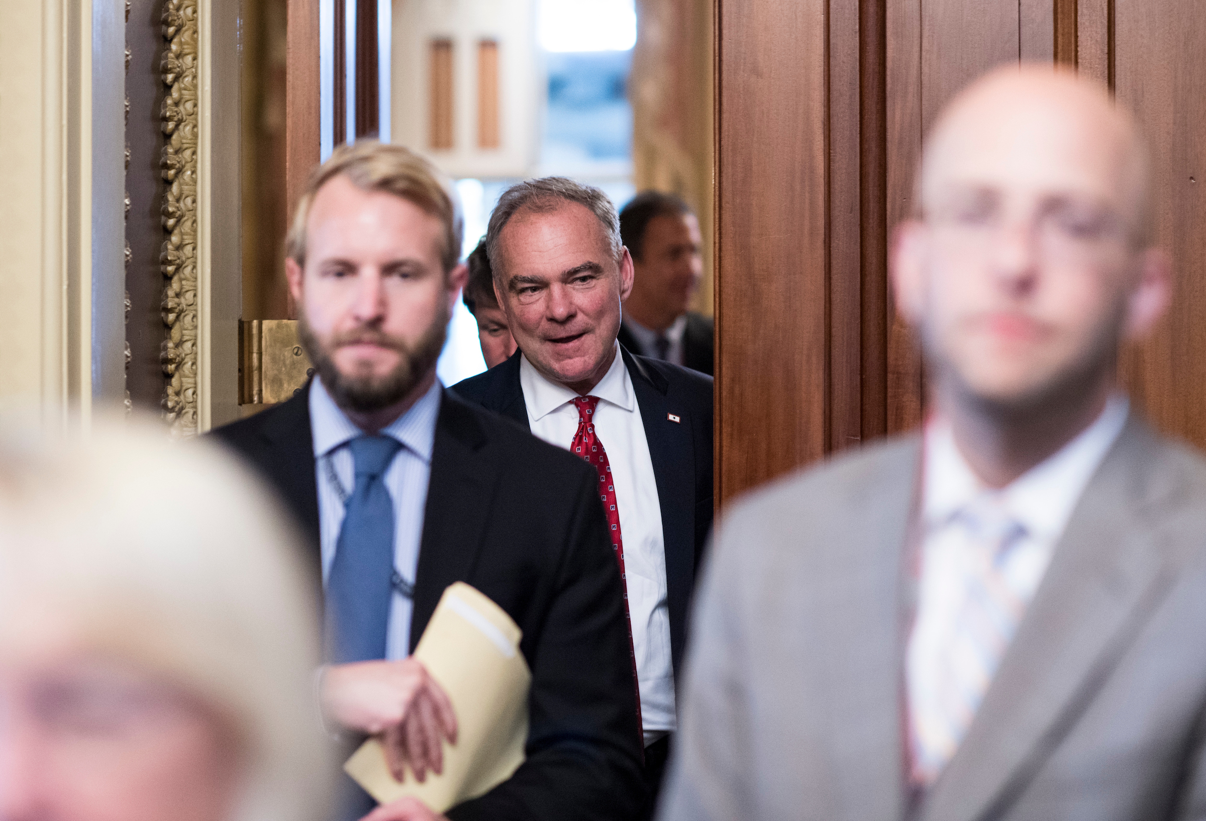 Democratic nominee for vice president Sen. Tim Kaine, D-Va., leaves after meeting with Senate Democrats during the their weekly policy lunch in the Capitol on Wednesday, Sept. 7, 2016. (Photo By Bill Clark/CQ Roll Call)