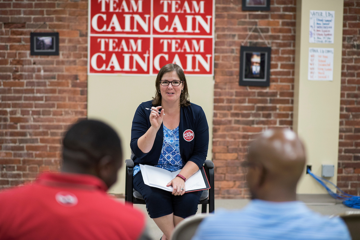 Emily Cain, Democratic candidate for Maine's 2nd Congressional District, talks with Somali immigrants in Lewiston, Maine, Sept. 8, 2016. (Tom Williams/CQ Roll Call)