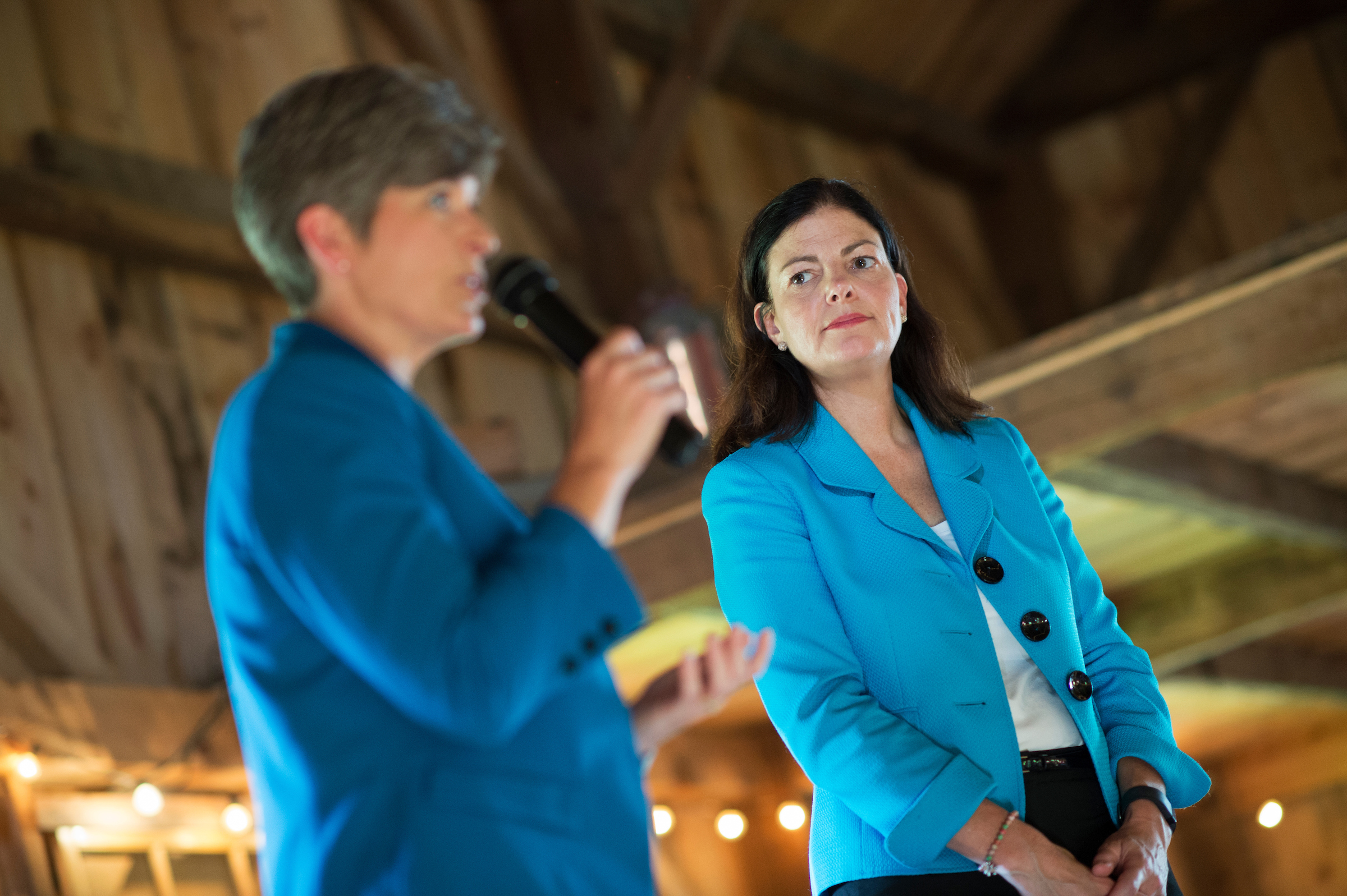 "Campaigning with Ayotte at a ""barn hall"" in Kingston on Friday, Iowa Sen. Joni Ernst urged Ayotte supporters to vote in Tuesday's primary. (Tom Williams/CQ Roll Call)"