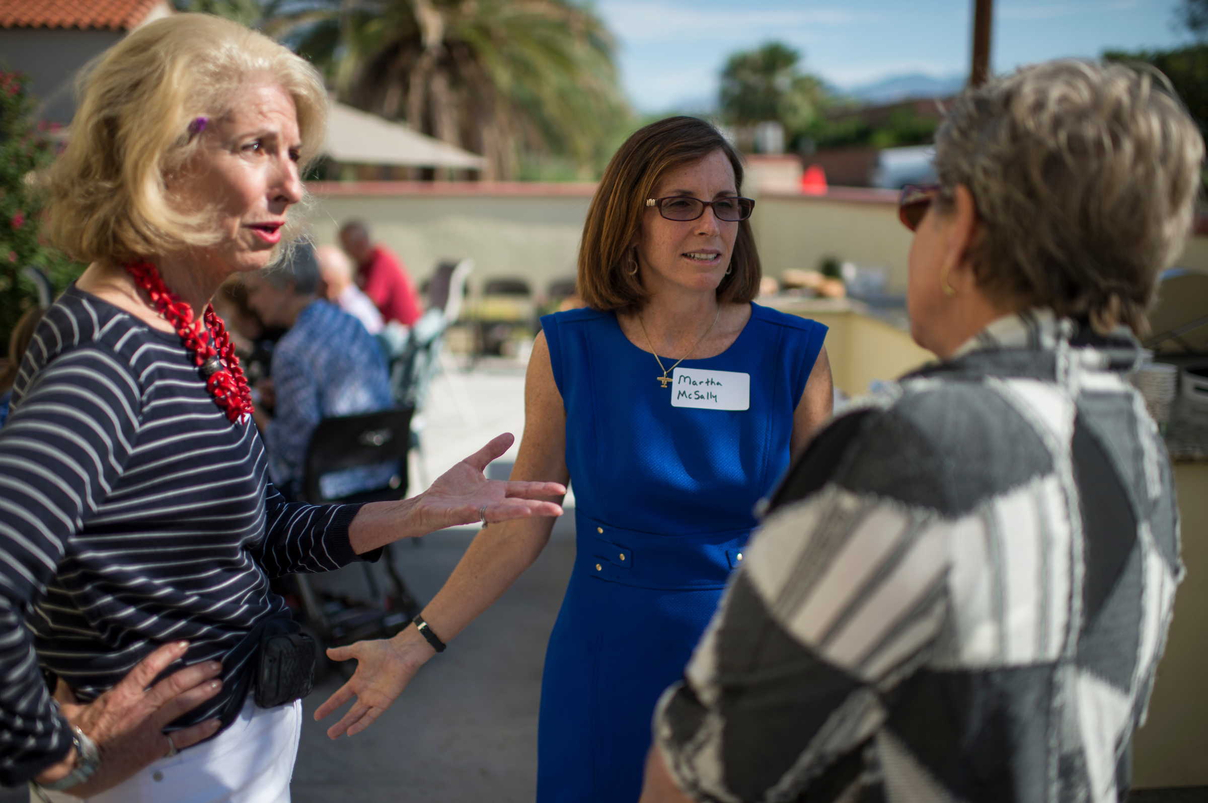 Martha McSally, Republican candidate running against Rep. Ron Barber in Arizona's 2nd Congressional district, speaks with supporters at a breakfast in Tucson, Ariz., on Saturday, Aug. 9, 2014. (Bill Clark/CQ Roll Call)