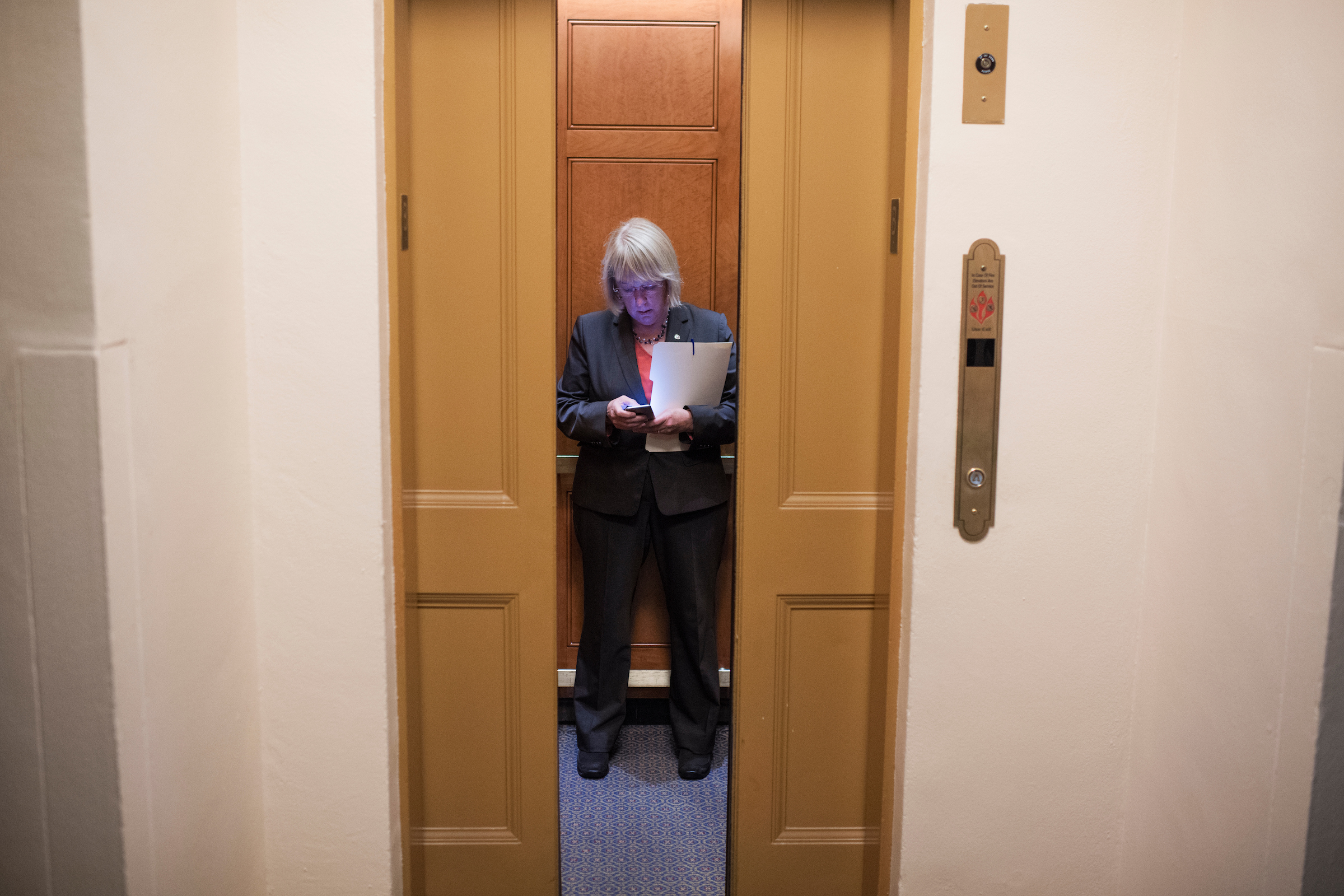 Washington Sen. Patty Murray boards an elevator in the Capitol on Tuesday, Sept. 13, 2016. (Tom Williams/CQ Roll Call)