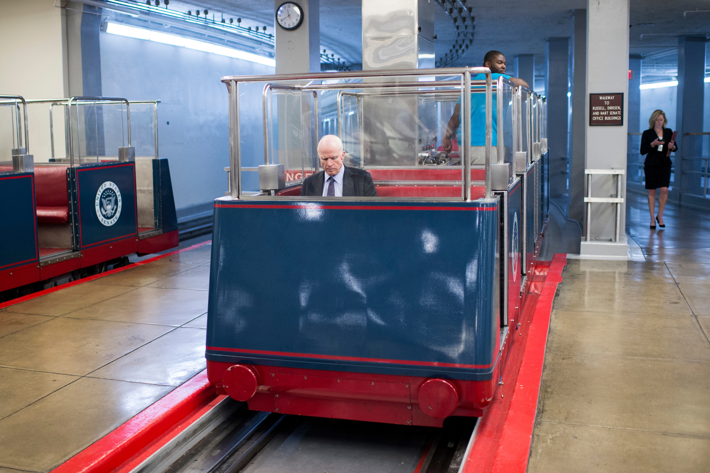 Arizona Sen. John McCain arrives in the Capitol on the Senate subway for a vote on Thursday, Sept. 15, 2016. (Bill Clark/CQ Roll Call)