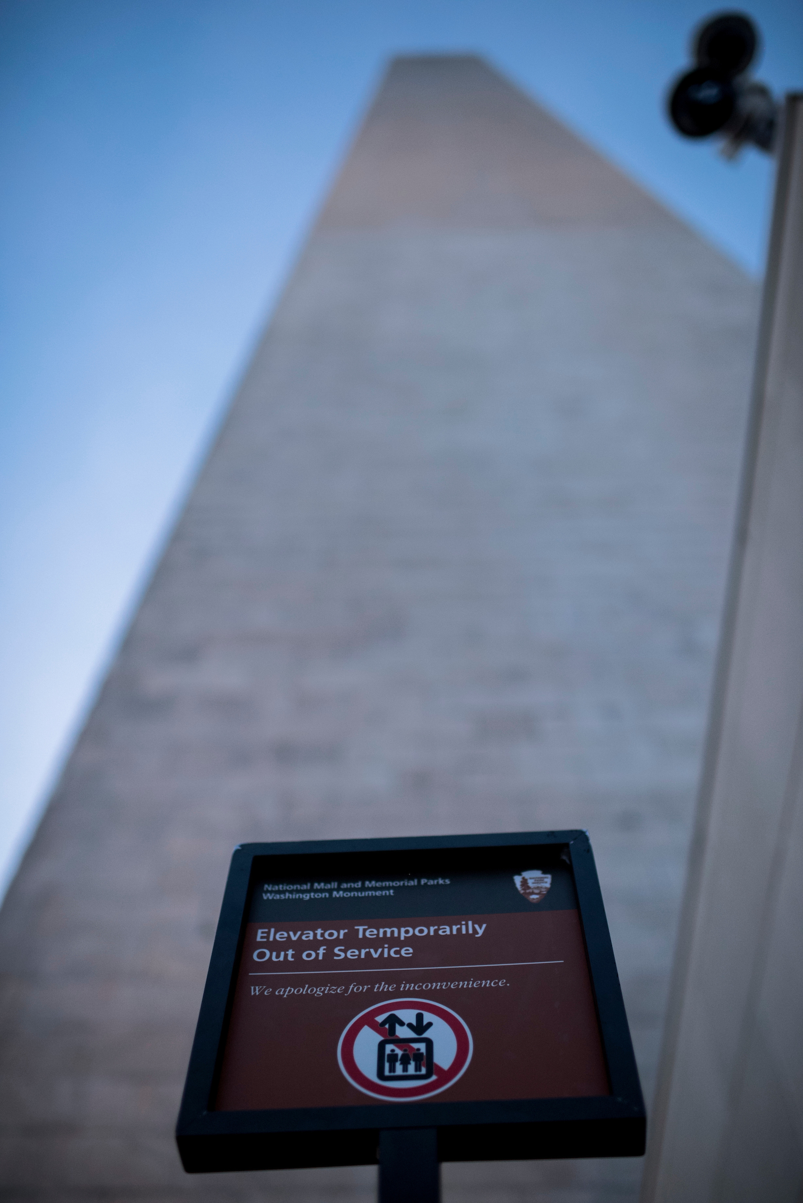 A sign notifies visitors that the elevator is out of service at the Washington Monument on Saturday, Sept. 17. (Bill Clark/CQ Roll Call)