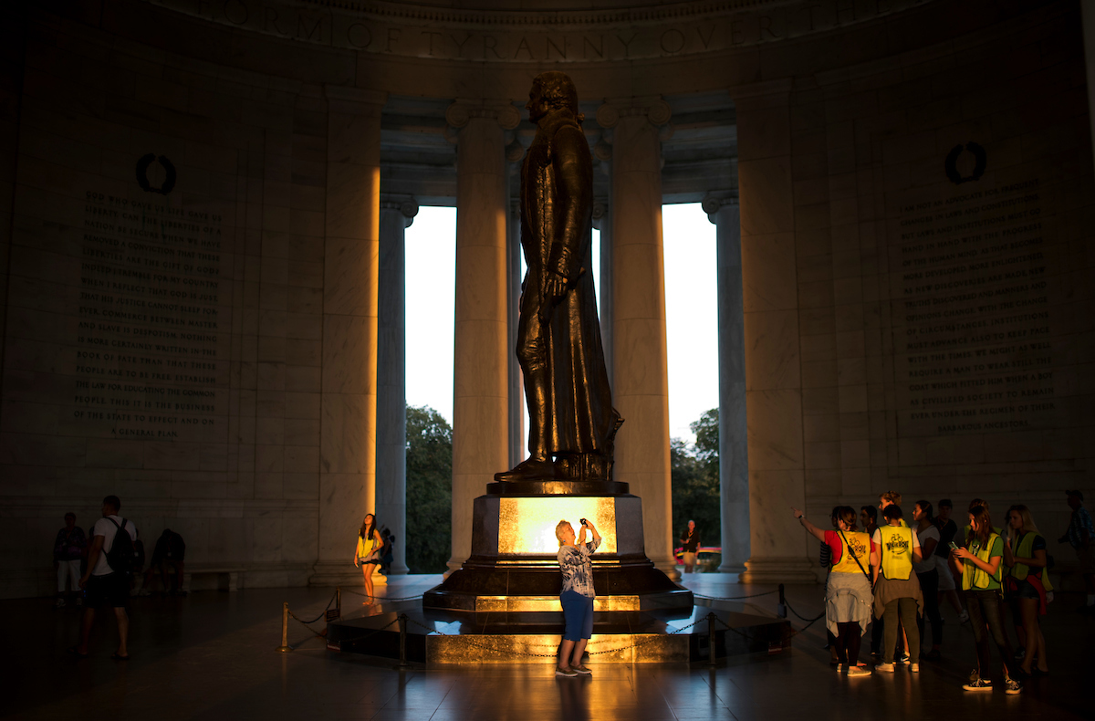 Visitors tour the Jefferson Memorial in Washington on Saturday, Sept. 17. (Bill Clark/CQ Roll Call)