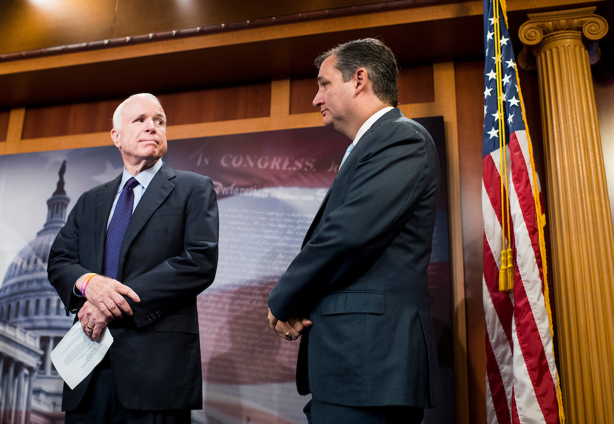 Sens. Ted Cruz of Texas, right, and John McCain of Arizona at a press conference on military aid to Israel on Tuesday, Sept. 20. (Bill Clark/CQ Roll Call)