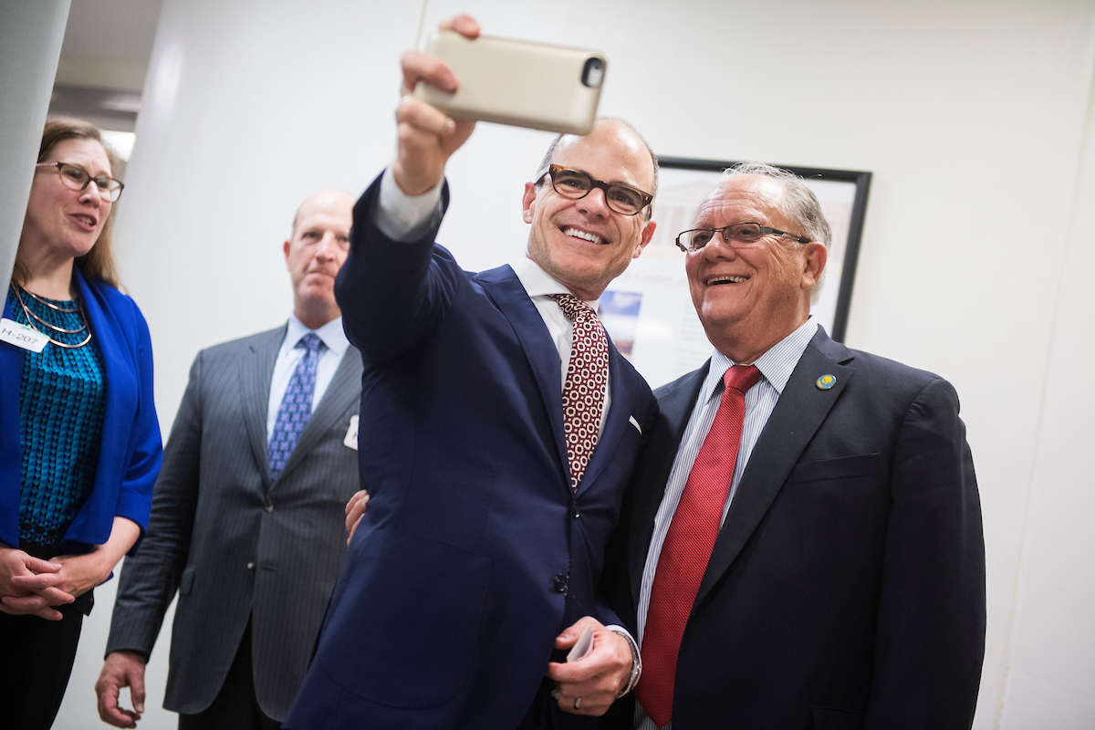 "Actor Michael Kelly, who plays Doug Stamper on the Netflix series ""House of Cards"" takes a selfie with a fan in the Capitol while on the Hill advocating for the Older Americans Act on Wednesday, Sept. 21. (Tom Williams/CQ Roll Call)"