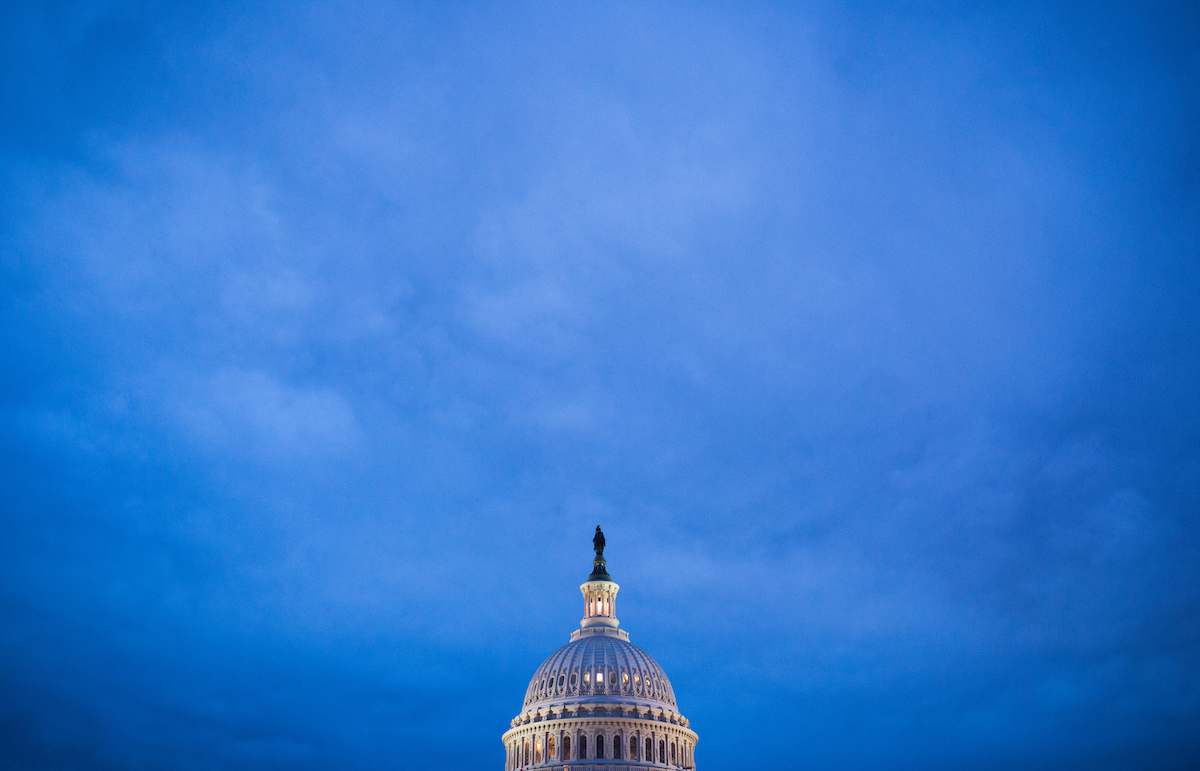 The recently restored U.S. Capitol dome is lit by lights in Washington on Monday evening, Sept. 26. (Bill Clark/CQ Roll Call)