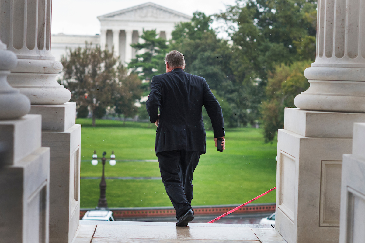 North Carolina Sen. Richard M. Burr leaves the Capitol on Wednesday, Sept. 28, after the Senate passed a 10-week continuing resolution to fund the government through Dec. 9. (Tom Williams/CQ Roll Call)