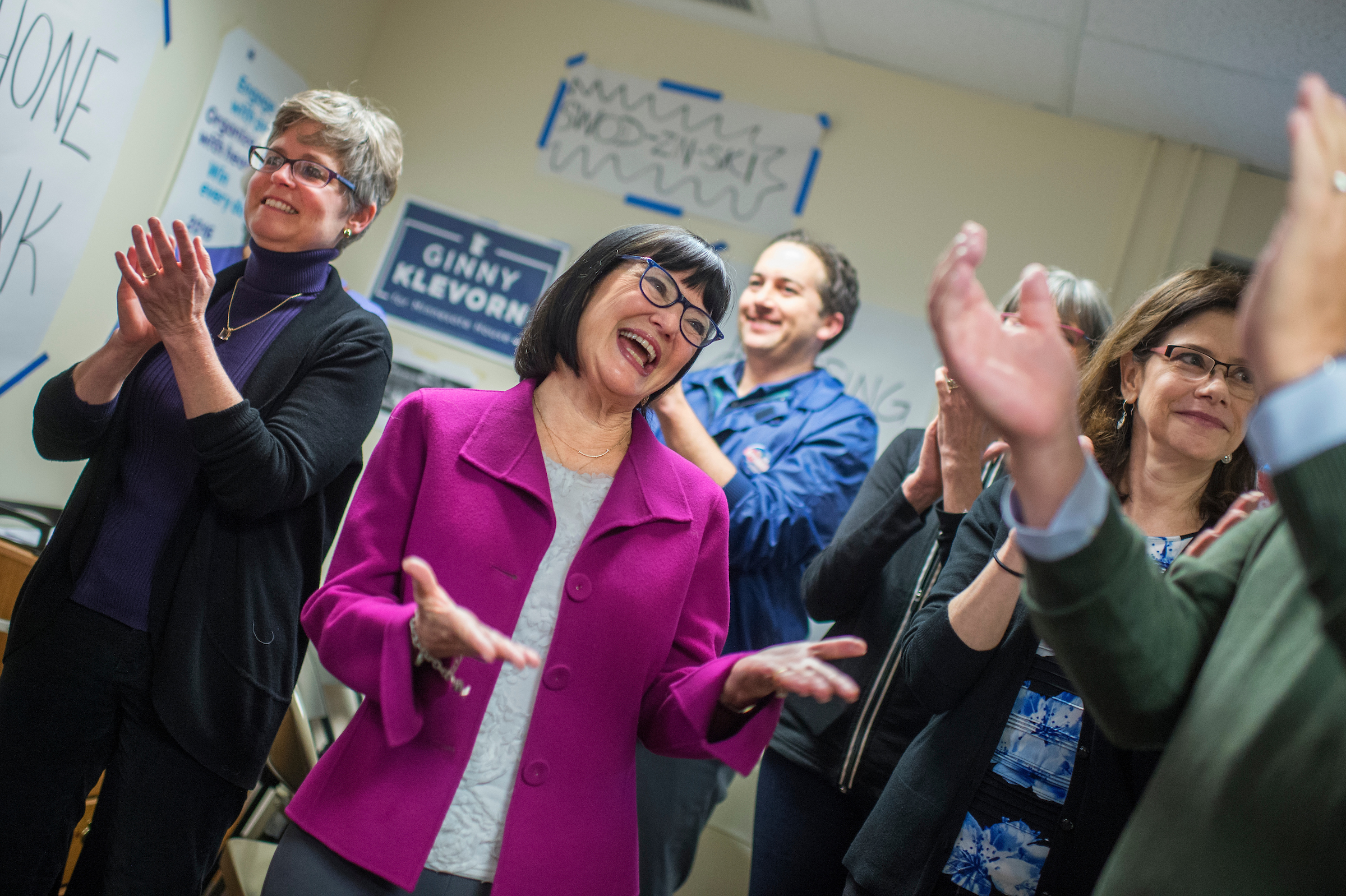 Terri Bonoff, center, Democratic-Farmer-Labor Party candidate for Minnesota's 3rd District, meets with volunteers and local politicians at a Minnetonka campaign office. (Tom Williams/CQ Roll Call)