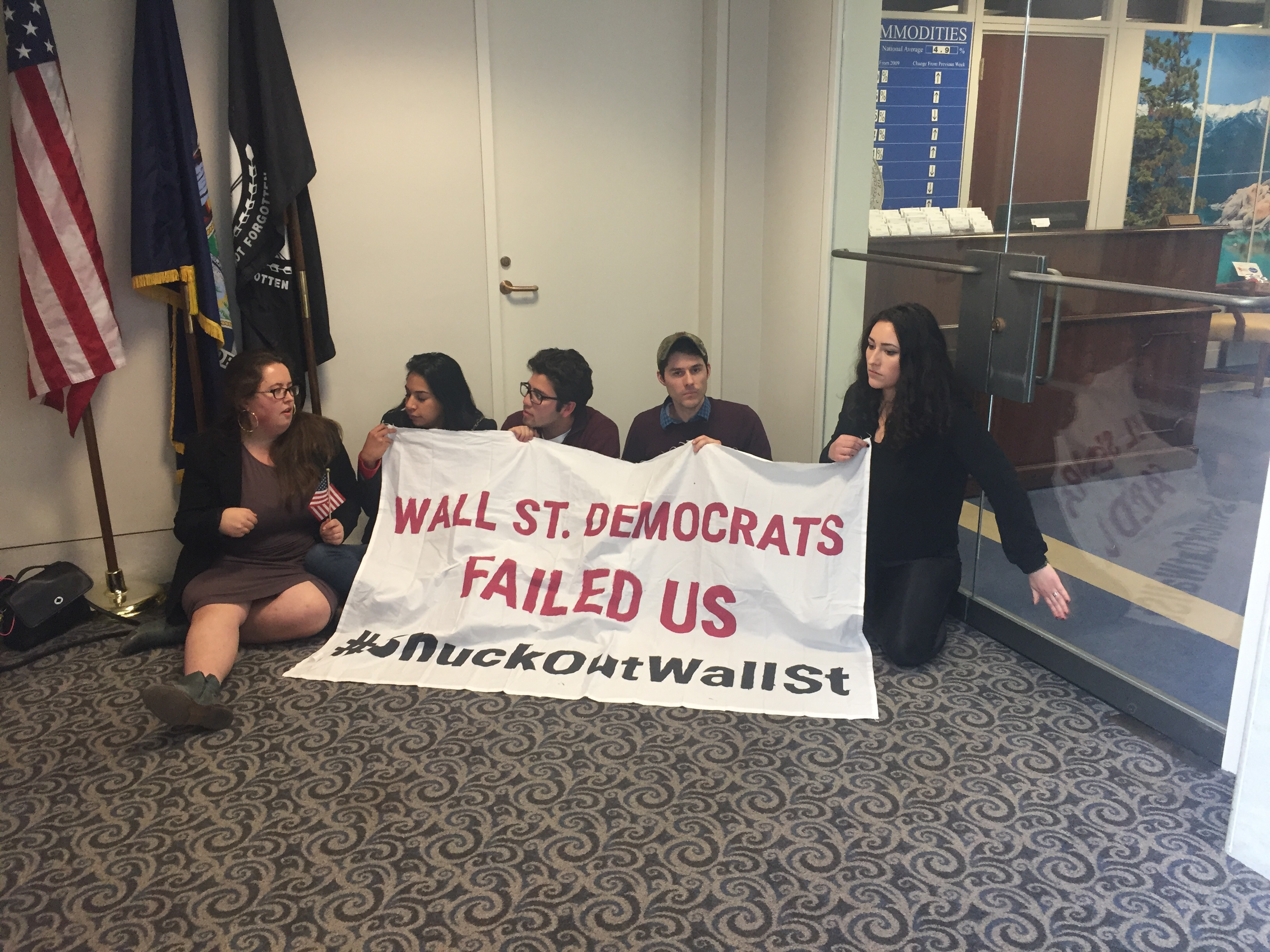 Protesters outside Schumer's office. (Courtesy Alex Gangitano)