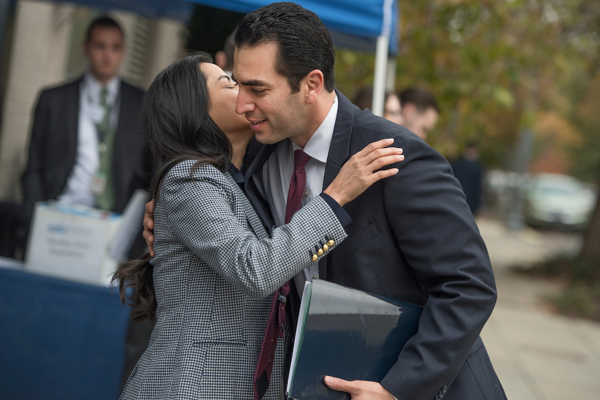 Rep.-elect Ruben Kihuen, D-Nev., and Nanette Barragan, D-Calif., greet outside of the Capitol Hill Hotel. (Tom Williams/CQ Roll Call)