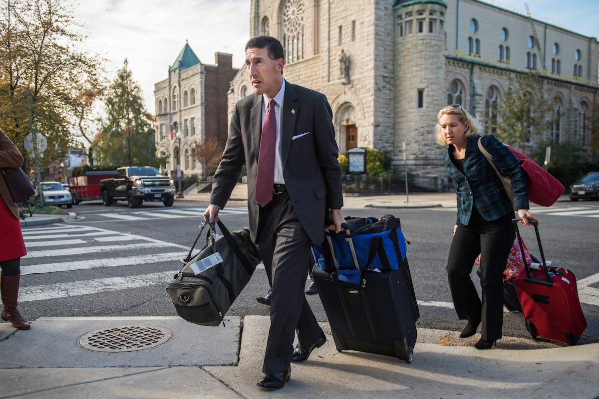 Rep.-elect David Kustoff, R-Tenn., arrives to the hotel with his wife. (Tom Williams/CQ Roll Call)