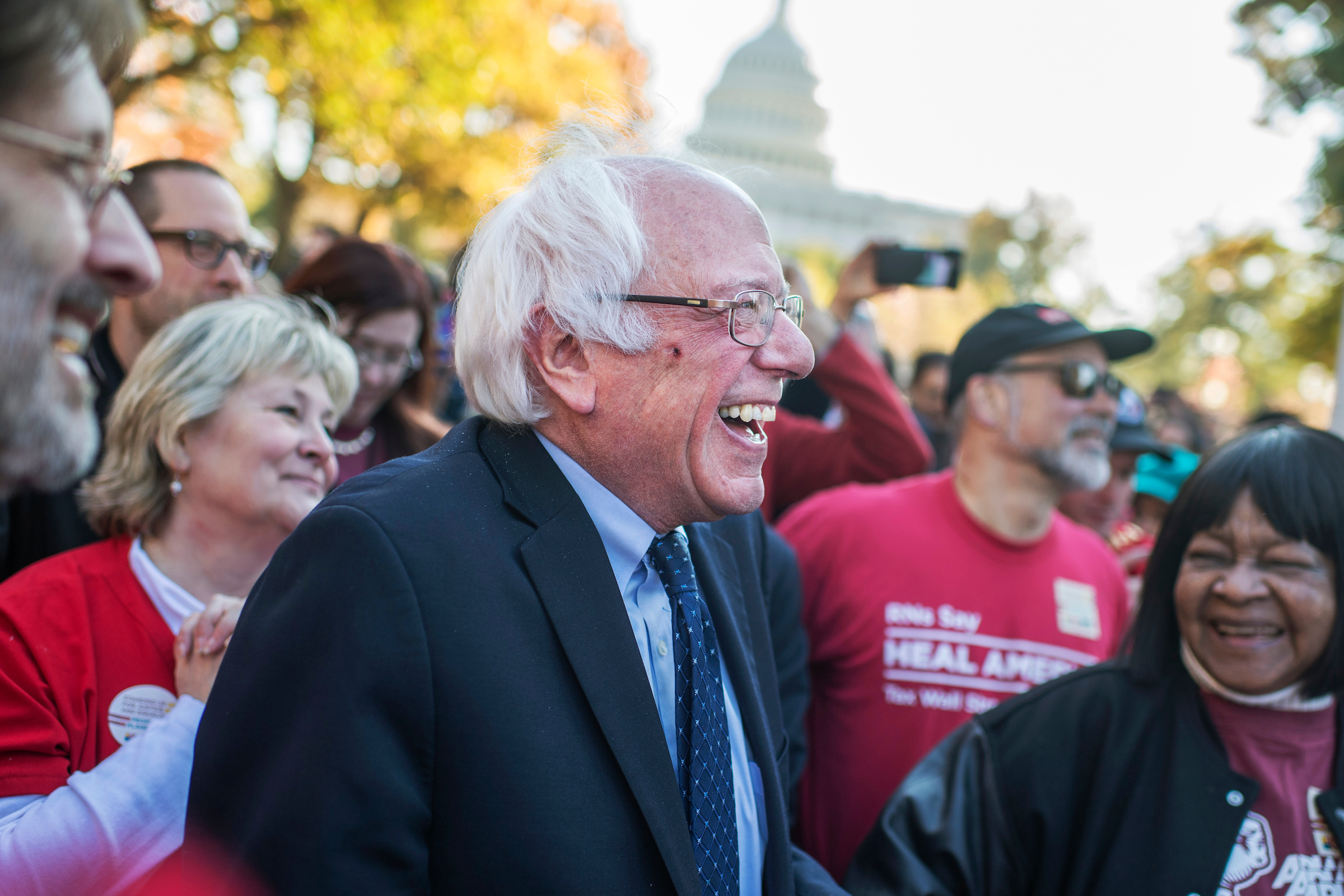 UNITED STATES - NOVEMBER 17: Sen. Bernie Sanders, I-Vt., prepares to speak at a rally held by labor, environmental, and consumer groups in Upper Senate Park to call for economic and social justice, November 17, 2016. (Photo By Tom Williams/CQ Roll Call)