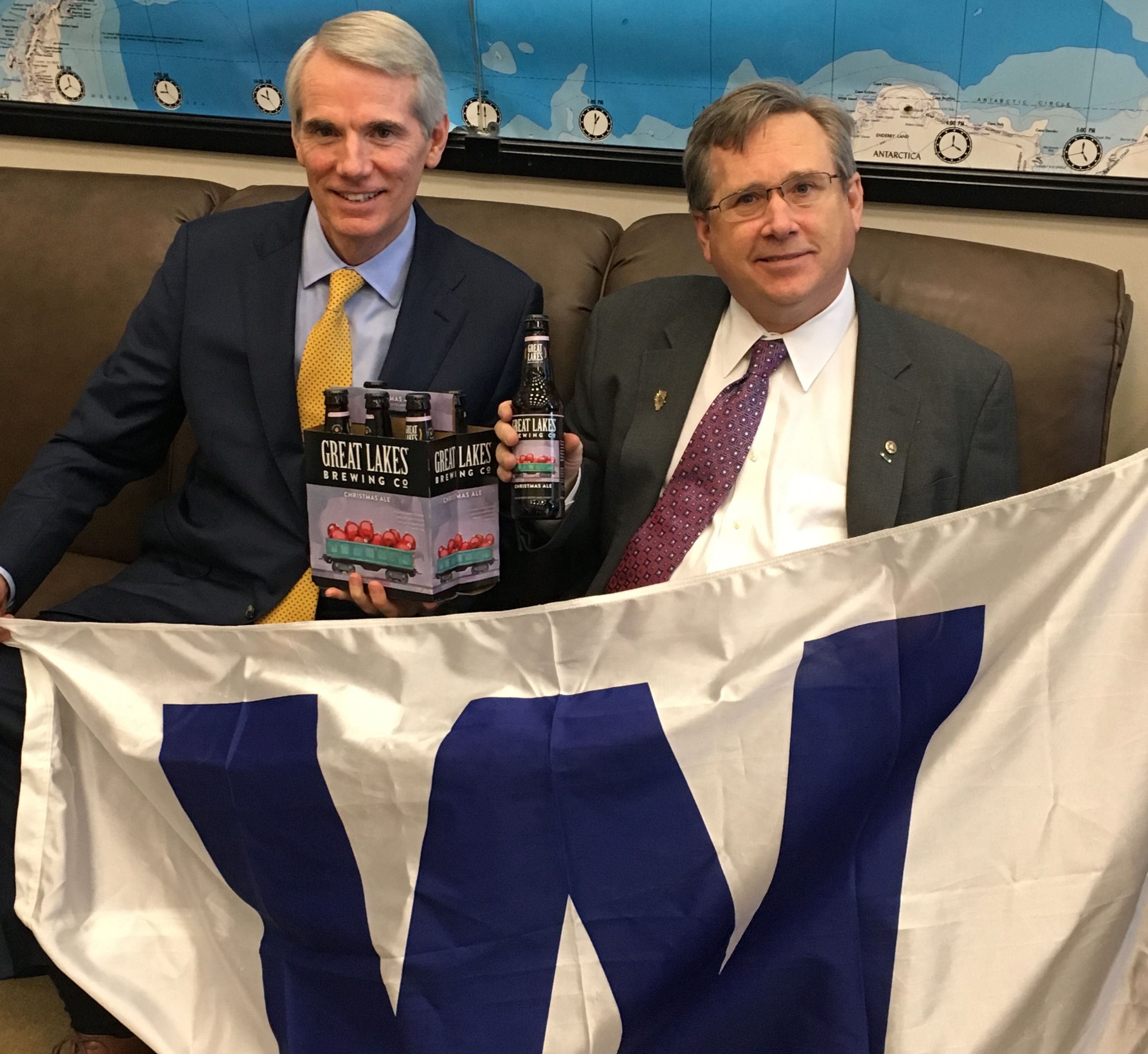 "Ohio Sen. <a class=""memberLink"" title=""Click to view member info in a new window"" href=""http://data.rollcall.com/members/373?rel=memberLink"" target=""_blank"">Rob Portman</a>, left, handed over beer to Illinois Sen. <a class=""memberLink"" title=""Click to view member info in a new window"" href=""http://data.rollcall.com/members/7051?rel=memberLink"" target=""_blank"">Mark S. Kirk</a>, right. (Courtesy Sen. Kirk's office)"