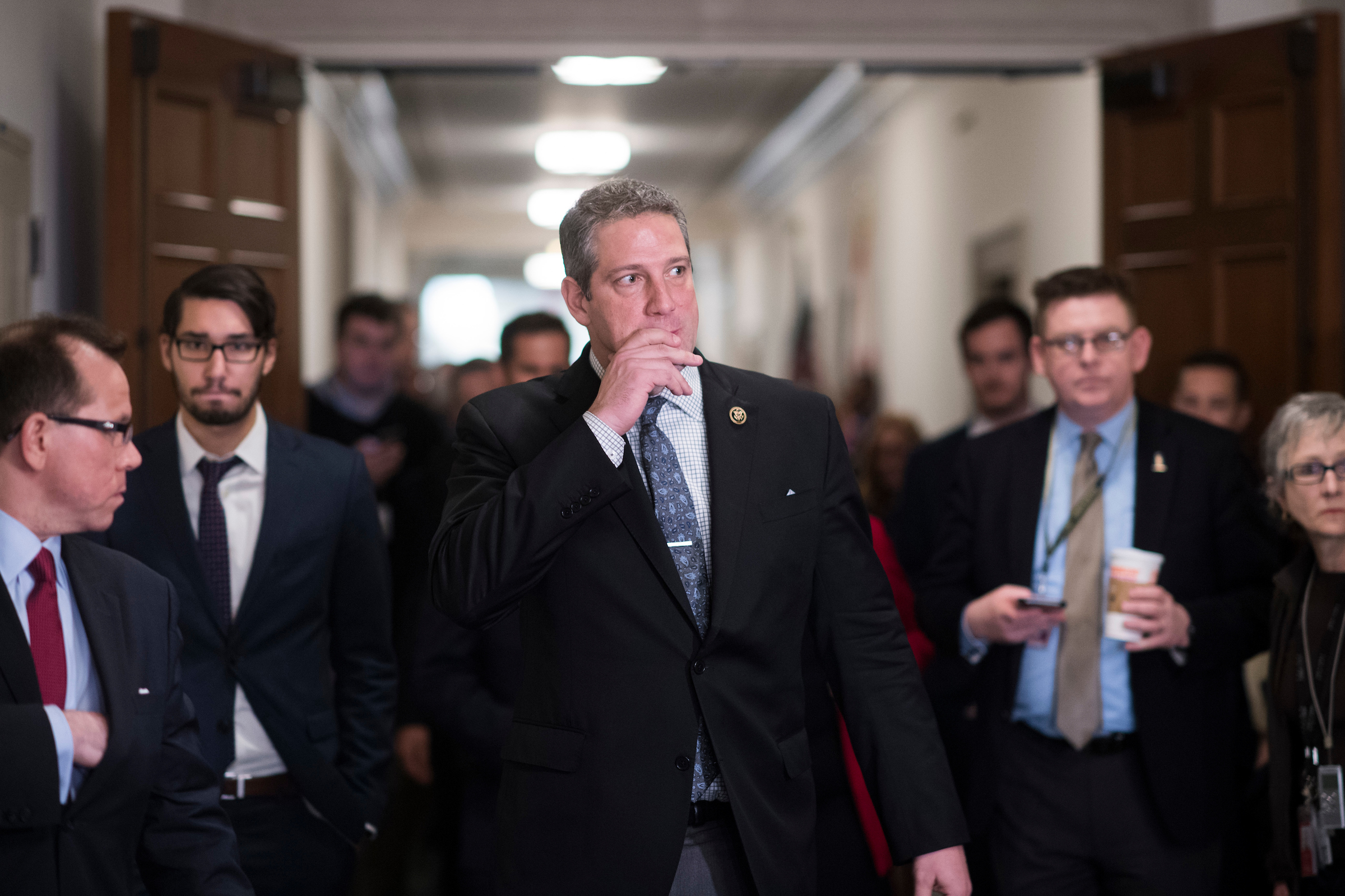 Ohio Rep. Tim Ryan speaks with the media after losing the race for Democratic leader to House Minority Leader Nancy Pelosi on Wednesday. (Tom Williams/CQ Roll Call)