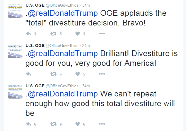 The Office of Government Ethics' tweets at Donald Trump, praising the president-elect for his decision to step back from his businesses. (Screenshots)
