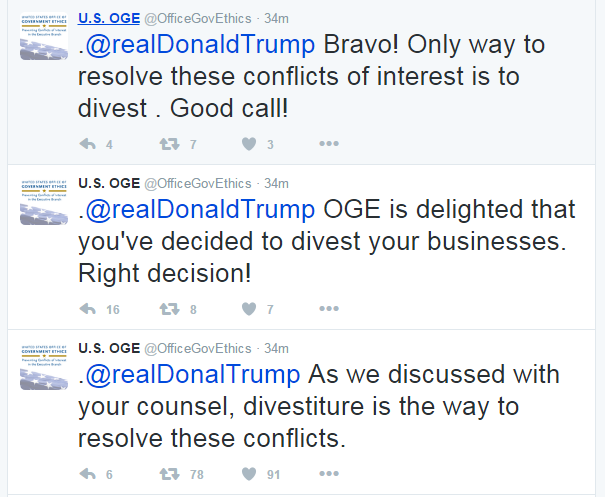 Government ethics office cheers Trump in unusual string of tweets